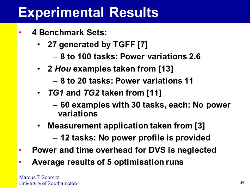 Experimental Results 4 Benchmark Sets: 27 generated by TGFF [7]